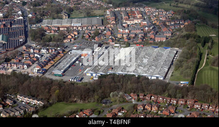 aerial view of East Tame Business Park, Hyde, Manchester - Stock Photo