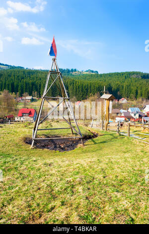 Natural oil spring in Korna village in protected natural area of Kysuce (Slovakia) - Stock Photo