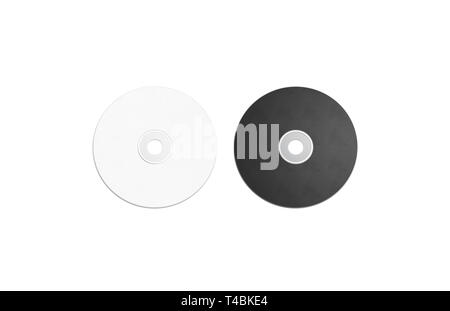 Blank black and white compact disk mockup set, isolated, 3d rendering. Empty multimedia player mock up, top view. Clear cd or dvd disc for storage template. - Stock Photo