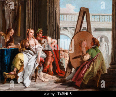 Giovanni Battista Tiepolo, Alexander the Great and Campaspe in the Studio of Apelles, painting c. 1740 - Stock Photo