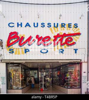 Gravelines, Nord Department, France, 26th March 2019, General View, Frontage, Sport Shoe Shop, © Peter Spurrier, - Stock Photo