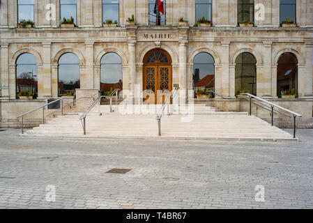 Gravelines, Nord Department, France, 26th March 2019, General View, Market Square, Town Hall,  [Mairie], © Peter Spurrier, - Stock Photo