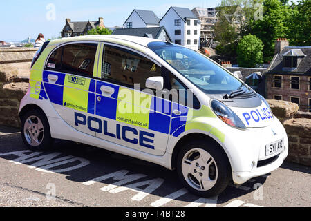 Scottish police eco-friendly, electric panda car, Castle Hill, Inverness, Highland, Scotland, United Kingdom - Stock Photo