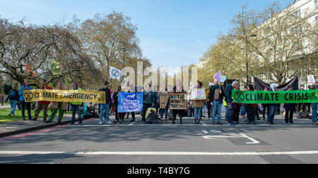 London, United Kingdom. 15 April 2019. Extinction Rebellion climate change protesters have blocked several section of Oxford Street at Marble Arch and Oxford Circus. Credit: Peter Manning/Alamy Live News - Stock Photo