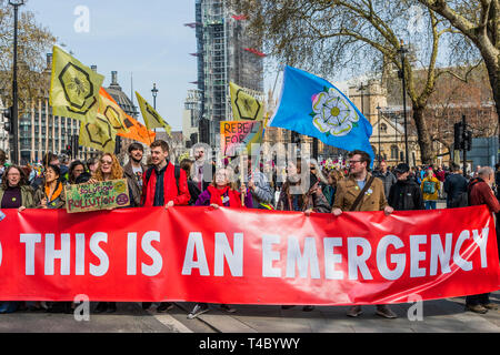 London, UK. 15th Apr 2019. Entrances to Parliament Square are blocked -Protestors from Extintion Rebellion block several (Hyde Park, Oxford Cuircus, Piccadilly Circus, Warterloo Bridge and Parliament Square) junctions in London as part of their ongoing protest to demand action by the UK Government on the 'climate chrisis'. The action is part of an international co-ordinated protest. Credit: Guy Bell/Alamy Live News - Stock Photo
