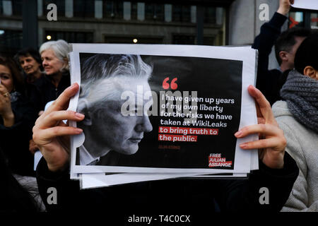 Brussels, Belgium. 15th April 2019.Supporters of WikiLeaks founder Julian Assange rally outside of British Embassy   .Alexandros Michailidis/Alamy Live News - Stock Photo
