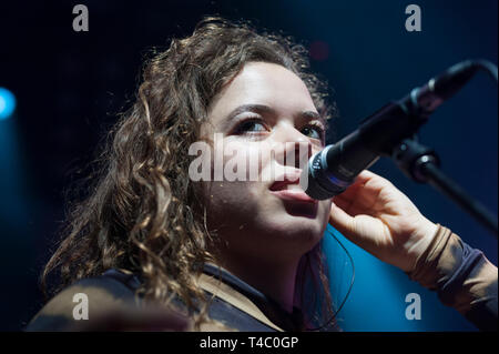Brighton, East Sussex. 14th April 2019. Nilufer Yanya performs live at The Haunt in Brighton, on her European tour. The tour follows the release of her debut album 'Miss Universe' released 22 March 2019. Credit: Francesca Moore/Alamy Live News - Stock Photo