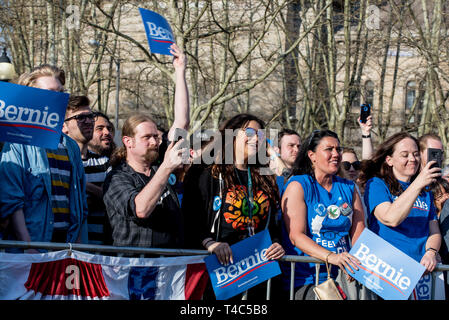 Pittsburgh, PA, USA. 14th Apr, 2019. People holding Bernie signs during a Bernie Sanders rally campaign ahead of United States Presidential election. Democratic Presidential candidate Bernie Sanders rally in Pittsburgh, PA on the campaign trail for the bid in the 2020 election. Credit: Aaron Jackendoff/SOPA Images/ZUMA Wire/Alamy Live News - Stock Photo