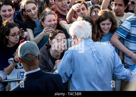 Pittsburgh, PA, USA. 14th Apr, 2019. Bernie Sanders shaking hands during his rally campaign ahead of United States Presidential election.Democratic Presidential candidate Bernie Sanders rally in Pittsburgh, PA on the campaign trail for the bid in the 2020 election. Credit: Aaron Jackendoff/SOPA Images/ZUMA Wire/Alamy Live News - Stock Photo