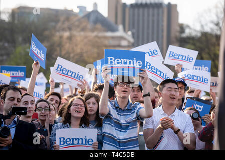 People holding Bernie signs during a Bernie Sanders rally campaign ahead of United States Presidential election. Democratic Presidential candidate Bernie Sanders rally in Pittsburgh, PA on the campaign trail for the bid in the 2020 election. - Stock Photo