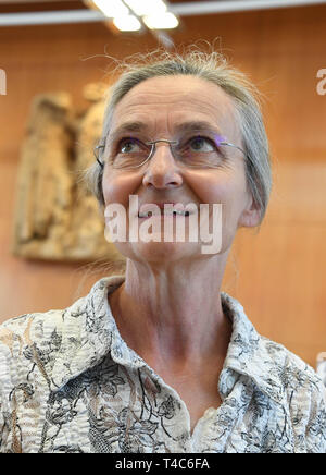 16 April 2019, Baden-Wuerttemberg, Karlsruhe: Doctor Erika Preisig, President of the Lifecircle Association, is waiting in the Federal Constitutional Court for the start of oral proceedings on the ban on euthanasia. Euthanasia as a service has been a punishable offence for a good three years now. The court is hearing a number of lawsuits against the ban. With Section 217 of the Criminal Code, the legislator wanted to prevent suicide assistance associations such as Sterbehilfe Deutschland or Dignitas from Switzerland from expanding their services for paying members. Apart from such associations - Stock Photo