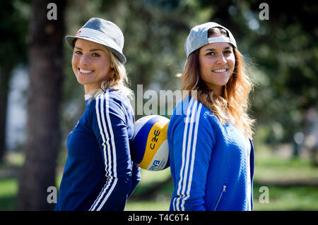 Prague, Czech Republic. 16th Apr, 2019. Czech beach volleyball players L-R Marketa Nausch Slukova and Barbora Hermannova pose during a press conference, on April 16, 2016, in Prague, Czech Republic. Credit: Katerina Sulova/CTK Photo/Alamy Live News - Stock Photo