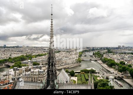 (190416) -- PARIS, April 16, 2019 (Xinhua) -- File photo taken on June 30, 2017 shows the spire of the Notre Dame Cathedral in Paris, France. The devastating fire at Notre Dame Cathedral in central Paris has been put out after burning for 15 hours, local media reported on April 16, 2019.    In early evening on April 15, a fire broke out in the famed cathedral. Online footage showed thick smoke billowing from the top of the cathedral and huge flames between its two bell towers engulfing the spire and the entire roof which both collapsed later.    Notre Dame is considered one of the finest examp - Stock Photo