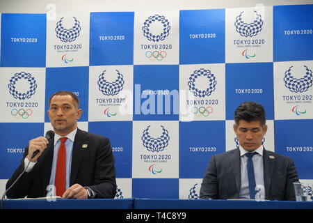 Tokyo, Tokyo 2020 Olympic competition schedule in Tokyo. 16th Apr, 2019. Koji Murofushi (L), Tokyo 2020 Sports Director, and Kosei Inoue, head coach of Japan's national judo team, attend a press conference announcing the detailed Tokyo 2020 Olympic competition schedule in Tokyo, Japan on April 16, 2019. Credit: Shen Honghui/Xinhua/Alamy Live News - Stock Photo