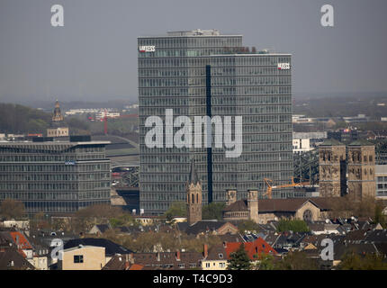 16 April 2019, North Rhine-Westphalia, Köln: The Lanxess skyscraper in the Deutz district. Photo: Oliver Berg/dpa - Stock Photo