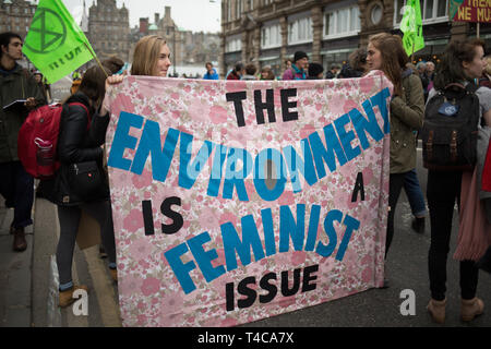 Edinburgh, Scotland, 16th April 2019. Extinction Rebellion (Scotland) climate protestors shut North Bridge to traffic during an 'International Day of Rebellion', asking for the government to declare a climate emergency, in Edinburgh, Scotland, on 16 April 2019. Credit: Jeremy Sutton-Hibbert/Alamy Live News - Stock Photo