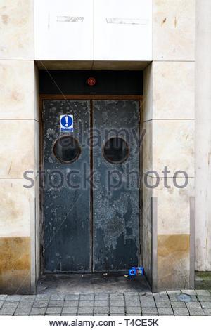 Fire escape doors, Poole, Dorset, England, UK - Stock Photo