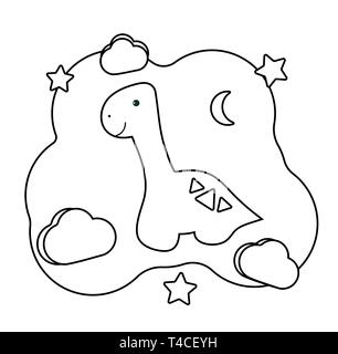 Cute dino. Coloring page with Dinosaur. Printable game on thematic archeology. Educational card for children of preschool age. Vector illustration car - Stock Photo