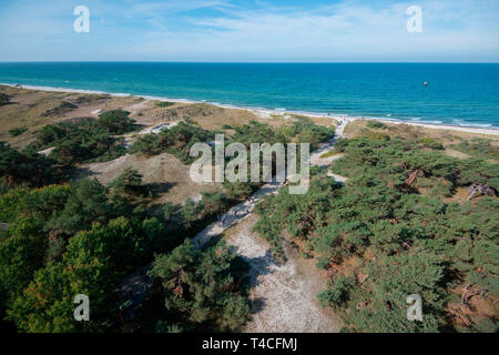 view from lighthouse Darsser Ort, Western Pomerania Lagoon Area National Park, Fischland-Darss-Zingst, Mecklenburg-Western Pomerania, Germany, Europe - Stock Photo