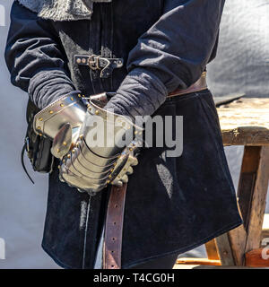 Medieval gloves of a knight, for protection made entirely of metal, Germany - Stock Photo