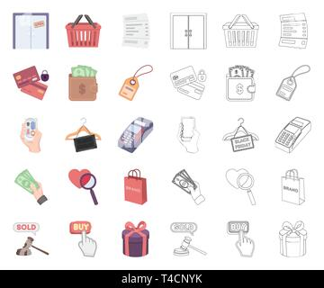 E-commerce and business cartoon,outline icons in set