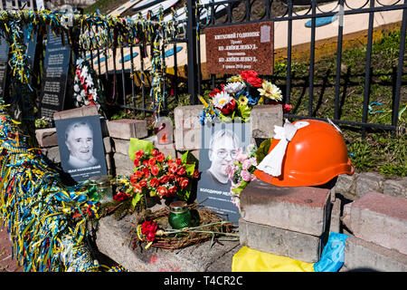 Makeshift memorial on Heroyiv Nebesnoyi Sotni Alley to commemorate the victims of the protests at Maidan Nezalezhnosti (Maidan Square) in central Kiev - Stock Photo
