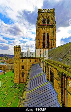 Durham Cathedral Durham City detail of the main tower from the west towe - Stock Photo