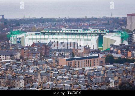 View from Nelson Monument, Calton Hill, Edinburgh. GV, Easter road, stadium, leith, Hibernian, Football club - Stock Photo