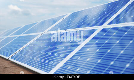 3D illustration Solar Panels. Alternative energy. Concept of renewable energy. Ecological, clean energy. Solar panels, photovoltaic with reflection be - Stock Photo