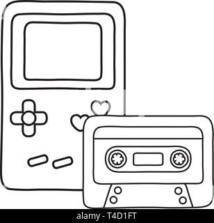 game boy and cassette icon cartoon black and white vector illustration graphic design - Stock Photo