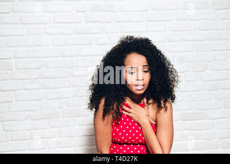 Sad Black Girl Young African American Woman Under Panic Attack - Stock Photo