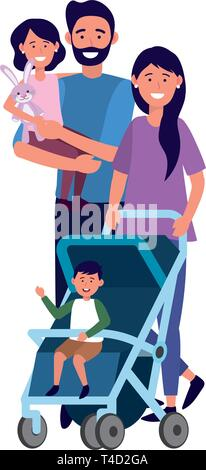 couple with baby carriage avatar cartoon character with children vector illustration graphic design - Stock Photo