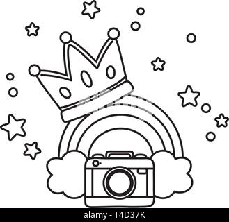 camera and crown with rainbow icon cartoon black and white vector illustration graphic design - Stock Photo