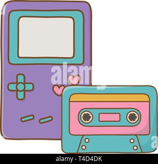 game boy and cassette icon cartoon vector illustration graphic design - Stock Photo