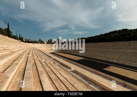 View of Athenian empty historic Panathenaic Stadium during a clear summer day without any tourists (Athens, Greece, Europe) - Stock Photo