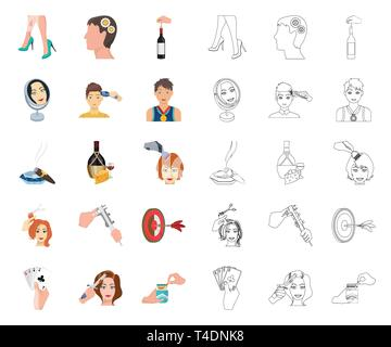 Manipulation by hands cartoon,outline icons in set collection for design. Hand movement vector symbol stock illustration. - Stock Photo
