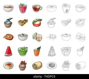 Vegetarian dish cartoon,outline icons in set collection for design.Vegetable and milk food vector symbol stock  illustration. - Stock Photo