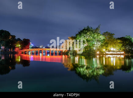 Landmark of red bridge Ho Hoan Kiem, lake of the returned sword at night, Hanoi, Vietnam