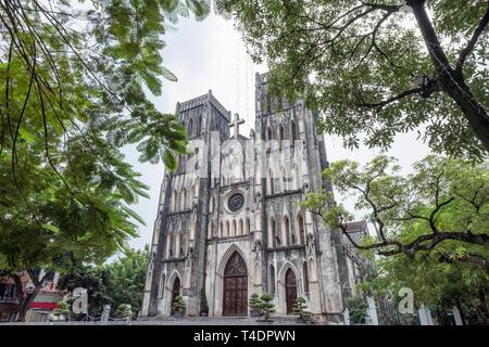 Architecture church St. Joseph's Cathedral of roman catholic landmark in Hanoi, Vietnam - Stock Photo