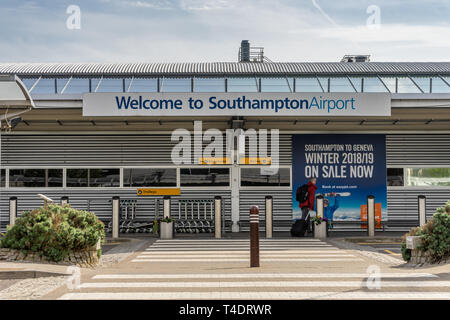 Entrance to Southampton Airport, a small International airport in Southampton, Hampshire, England, UK - Stock Photo