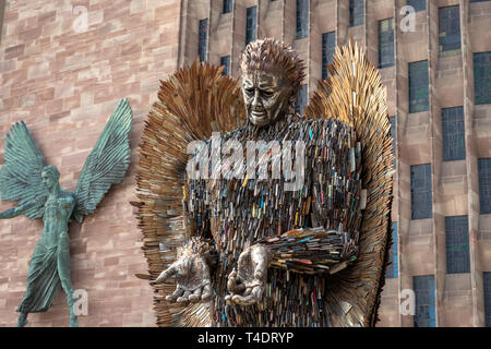 The Knife Angel Sculpture/Memorial National Monument by Artist Alfie Bradley at Coventry Cathedral,West Midlands..A 27' High Statue of 100,000 knives - Stock Photo