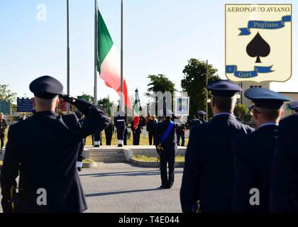 Italian Air Force service members celebrates the branch's 96th birthday in Aviano Air Base, Italy, March 28, 2019. ITAF was orginally called the Italian Royal Air Force when it was created on March 28, 1923. - Stock Photo