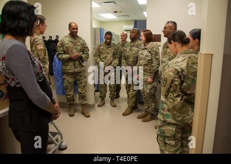 FORT BENNING, Ga. -- Military and civilian staff of the Sullivan Memorial Blood Center located at Fort Benning brief Maneuver Center of Excellence Commanding General Maj. Gen. Gary M. Brito on the center's contributions and capabilities in relation to the Armed Services Blood Program during his visit to the facility March 22, 2019. The ASBP is the official blood collection, manufacturing and transfusion program for the U.S. military, and provides blood products and services for all worldwide customers in both peace and war. - Stock Photo