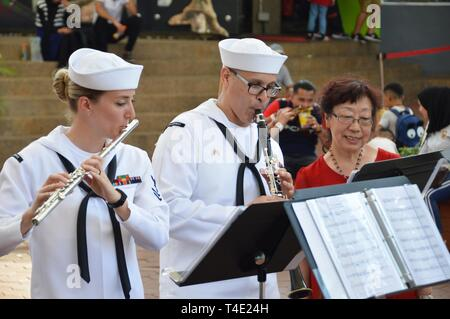 LANGKAWI, Malaysia (March 28, 2019) US 7th Fleet Band Performs at the Langkawi Sky Bridge as part of the Langkawi International Martime and Aerospace Exhibition (LIMA) 2019. 7th Fleet Band is embarked on the USS Blue Ridge (LCC 19)  and are actively working to  to foster relationships with allies and partnersin the Indo-Pacific region. - Stock Photo