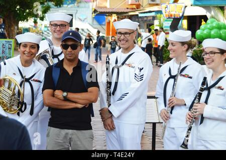 LANGKAWI, Malaysia (March 28, 2019) US 7th Fleet Band Performs at the Langkawi Sky Bridge as part of the Langkawi International Martime and Aerospace Exhibition (LIMA) 2019. 7th Fleet Band is embarked on the USS Blue Ridge (LCC 19)  and are actively working to foster relationships with allies and partners in the Indo-Pacific region. - Stock Photo