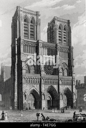 West front of the Church of Notre Dame, circa 1828 - Stock Photo
