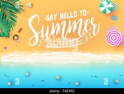 Say Hello to Summer Message in Sea Side Beach Resort Design Top View Creative Banner with Palm Trees, Tropical Leaves, Umbrellas, Ball and Fish - Stock Photo