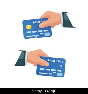 Hands holding bank cards. Isolated businessman holding credit card. Hand with NFC payment credit card. Bank card with contactless payment technology.  - Stock Photo