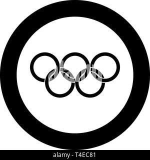 Olympic rings Five Olympic rings icon in circle round black color vector illustration flat style simple image - Stock Photo
