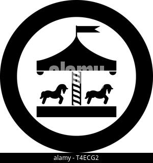 Carousel roundabout merry-go-round Vintage merry-go-round icon in circle round black color vector illustration flat style simple image - Stock Photo